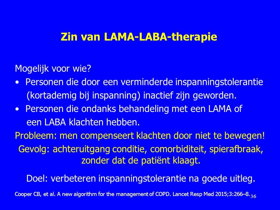 Zin van LAMA-LABA-therapie Mogelijk voor wie? Personen die door een verminderde inspanningstolerantie (kortademig bij inspanning) inactief zijn geword