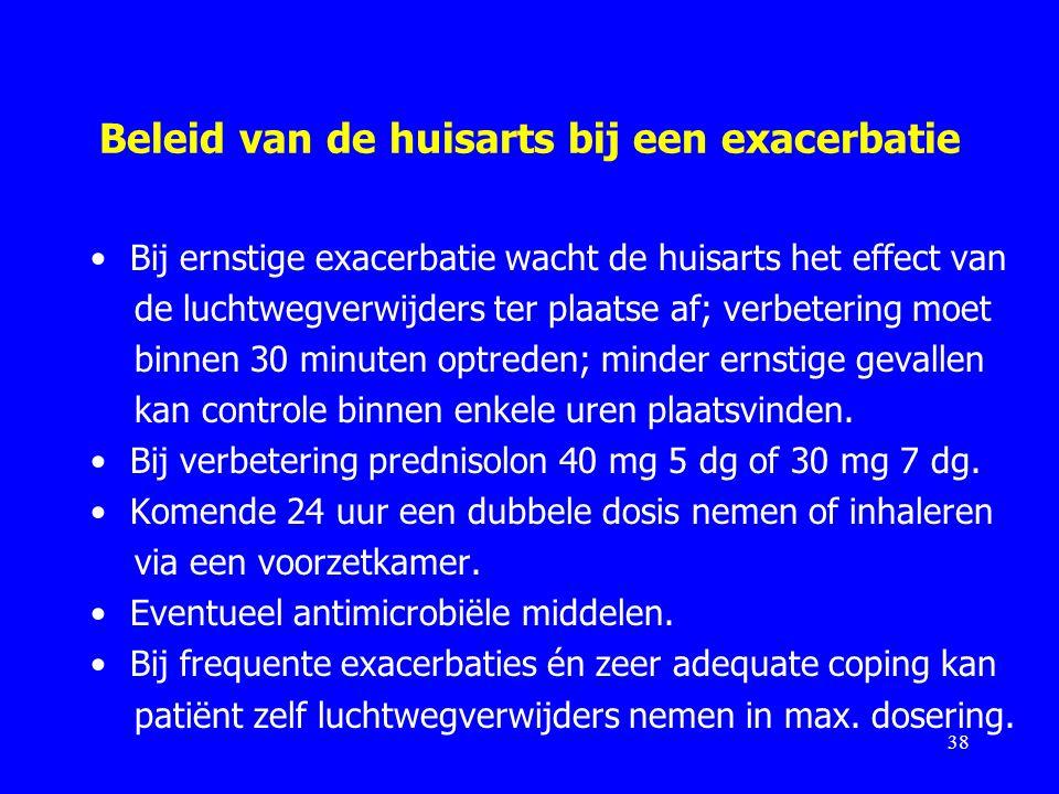 Beleid van de huisarts bij een exacerbatie Bij ernstige exacerbatie wacht de huisarts het effect van de luchtwegverwijders ter plaatse af; verbetering