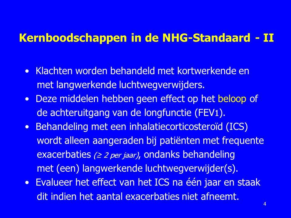 Kernboodschappen in de NHG-Standaard - II Klachten worden behandeld met kortwerkende en met langwerkende luchtwegverwijders. Deze middelen hebben geen