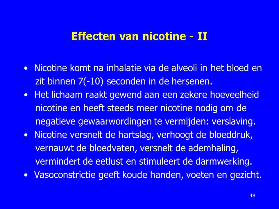 Effecten van nicotine - II Nicotine komt na inhalatie via de alveoli in het bloed en zit binnen 7(-10) seconden in de hersenen. Het lichaam raakt gewe