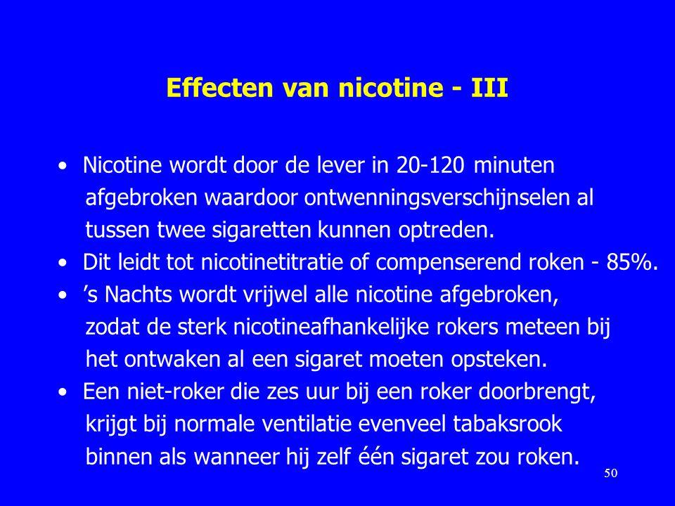 Effecten van nicotine - III Nicotine wordt door de lever in 20-120 minuten afgebroken waardoor ontwenningsverschijnselen al tussen twee sigaretten kun
