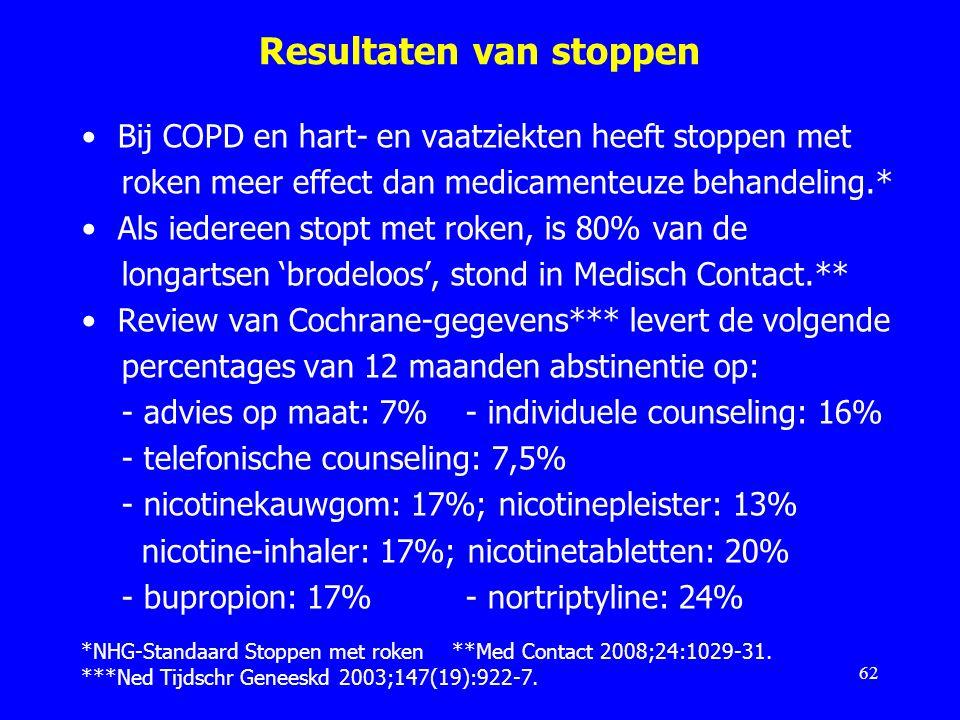 Resultaten van stoppen Bij COPD en hart- en vaatziekten heeft stoppen met roken meer effect dan medicamenteuze behandeling.* Als iedereen stopt met ro