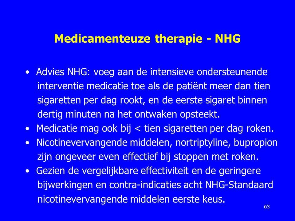Medicamenteuze therapie - NHG Advies NHG: voeg aan de intensieve ondersteunende interventie medicatie toe als de patiënt meer dan tien sigaretten per