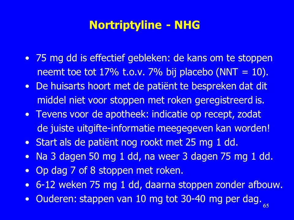 Nortriptyline - NHG 75 mg dd is effectief gebleken: de kans om te stoppen neemt toe tot 17% t.o.v. 7% bij placebo (NNT = 10). De huisarts hoort met de