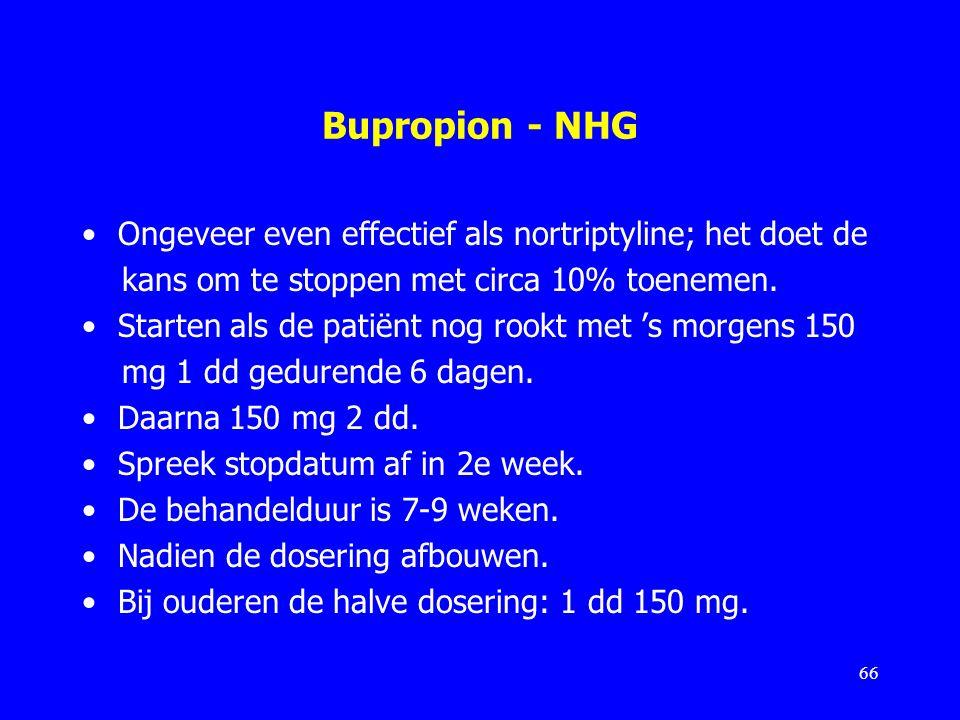 Bupropion - NHG Ongeveer even effectief als nortriptyline; het doet de kans om te stoppen met circa 10% toenemen. Starten als de patiënt nog rookt met