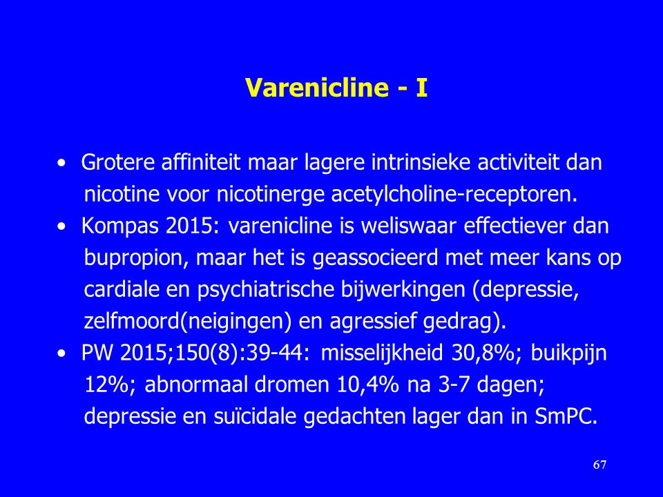 Varenicline - I Grotere affiniteit maar lagere intrinsieke activiteit dan nicotine voor nicotinerge acetylcholine-receptoren. Kompas 2015: varenicline