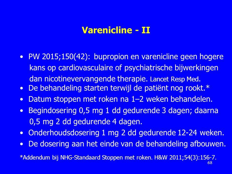Varenicline - II PW 2015;150(42): bupropion en varenicline geen hogere kans op cardiovasculaire of psychiatrische bijwerkingen dan nicotinevervangende