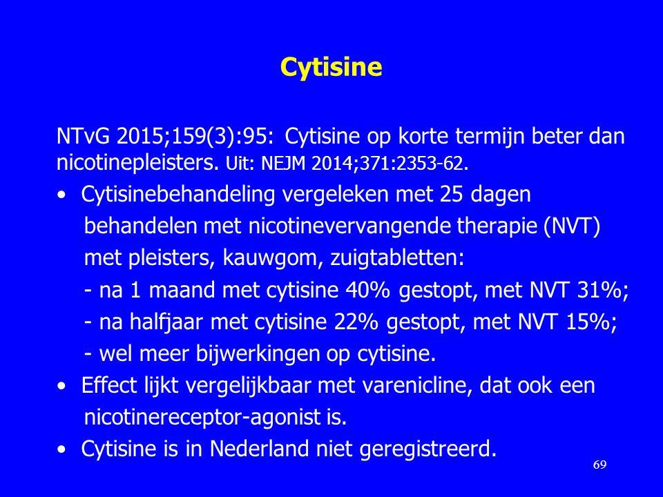 Cytisine NTvG 2015;159(3):95: Cytisine op korte termijn beter dan nicotinepleisters. Uit: NEJM 2014;371:2353-62. Cytisinebehandeling vergeleken met 25