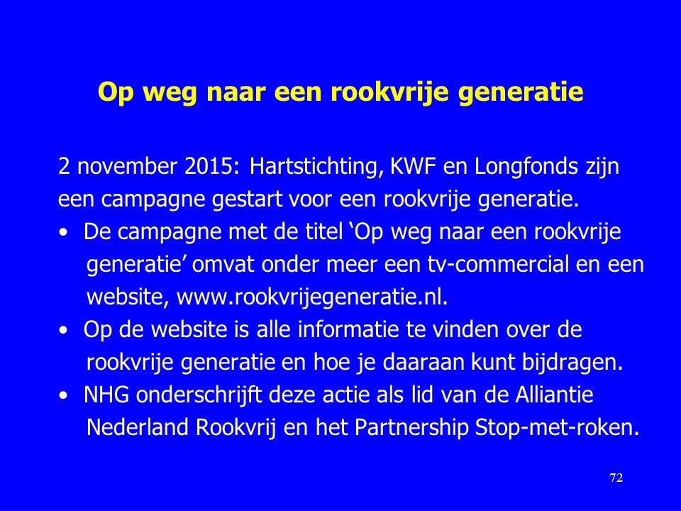 Op weg naar een rookvrije generatie 2 november 2015: Hartstichting, KWF en Longfonds zijn een campagne gestart voor een rookvrije generatie. De campag