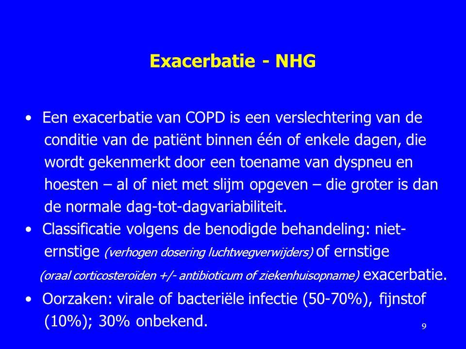 Exacerbatie - NHG Een exacerbatie van COPD is een verslechtering van de conditie van de patiënt binnen één of enkele dagen, die wordt gekenmerkt door
