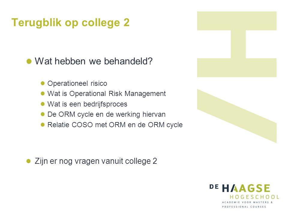 Terugblik op college 2 Wat hebben we behandeld? Operationeel risico Wat is Operational Risk Management Wat is een bedrijfsproces De ORM cycle en de we