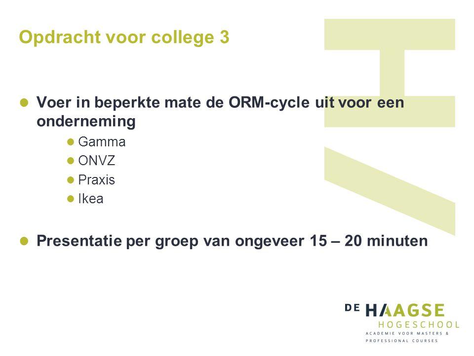 Opdracht voor college 3 Voer in beperkte mate de ORM-cycle uit voor een onderneming Gamma ONVZ Praxis Ikea Presentatie per groep van ongeveer 15 – 20
