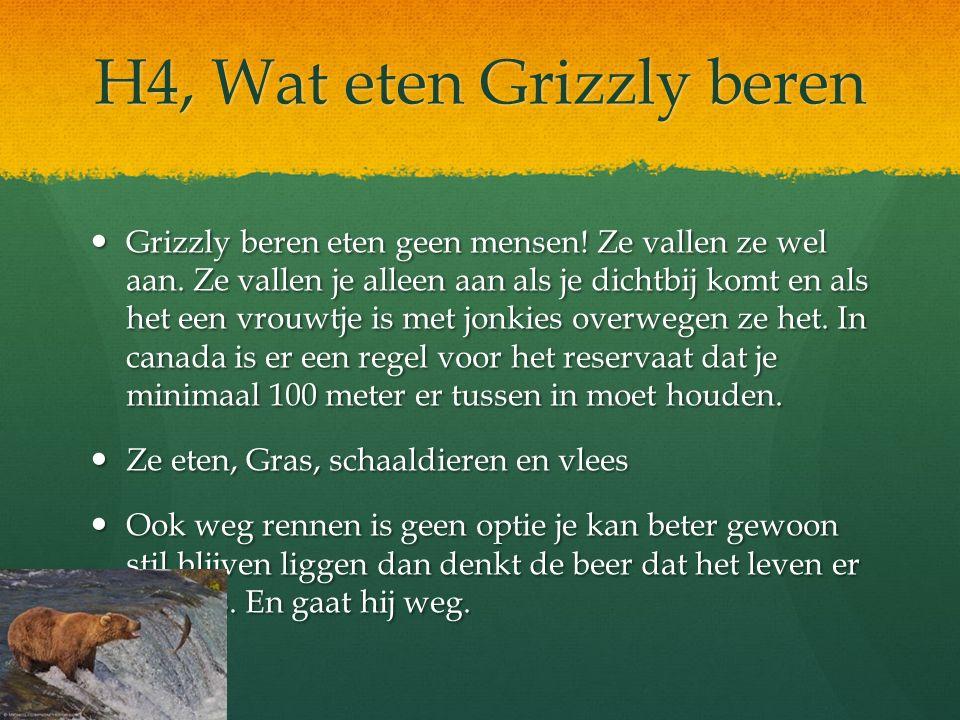 H4, Wat eten Grizzly beren Grizzly beren eten geen mensen! Ze vallen ze wel aan. Ze vallen je alleen aan als je dichtbij komt en als het een vrouwtje