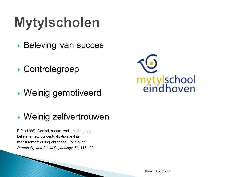 Beleving van succes  Controlegroep  Weinig gemotiveerd  Weinig zelfvertrouwen P.B.