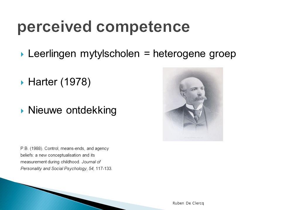  Leerlingen mytylscholen = heterogene groep  Harter (1978)  Nieuwe ontdekking P.B.