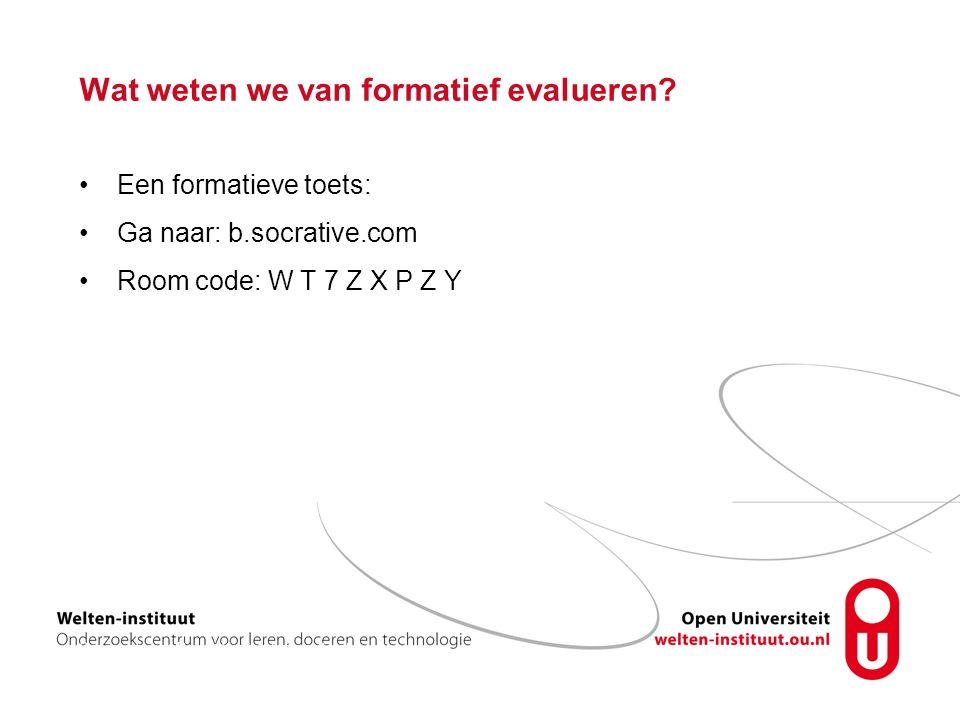 Wat weten we van formatief evalueren.