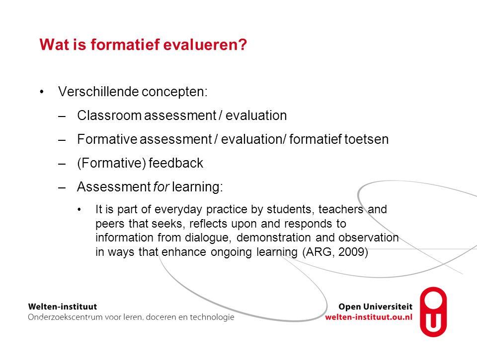 Enhance learning Formatief evalueren stimuleert –self-efficacy –intrinsieke motivatie –zelfregulatie (Meusen-Beekman et al., 2015)