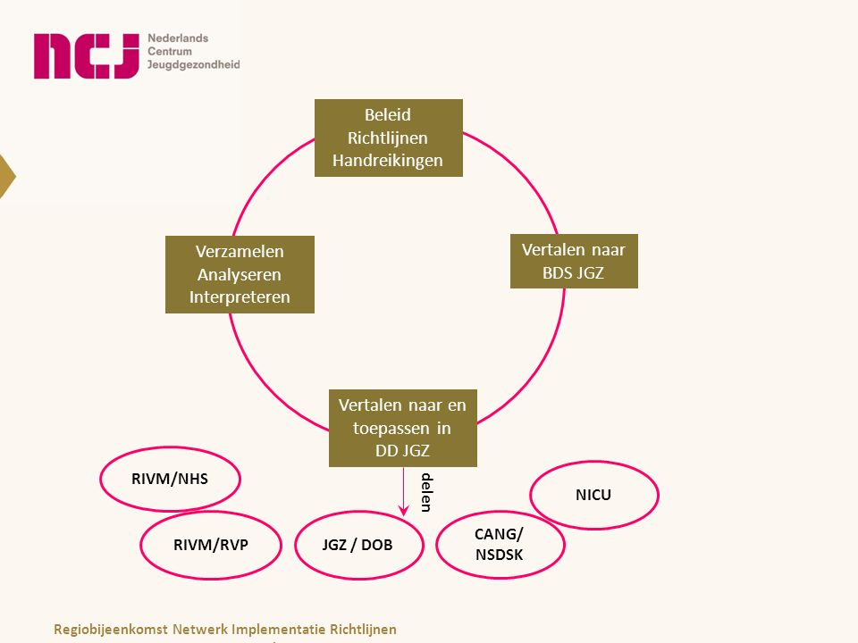 Beleid Richtlijnen Handreikingen Beleid Richtlijnen Handreikingen Vertalen naar BDS JGZ Vertalen naar en toepassen in DD JGZ Verzamelen Analyseren Interpreteren delen JGZ / DOB CANG/ NSDSK RIVM/RVP NICU RIVM/NHS Regiobijeenkomst Netwerk Implementatie Richtlijnen november 2013