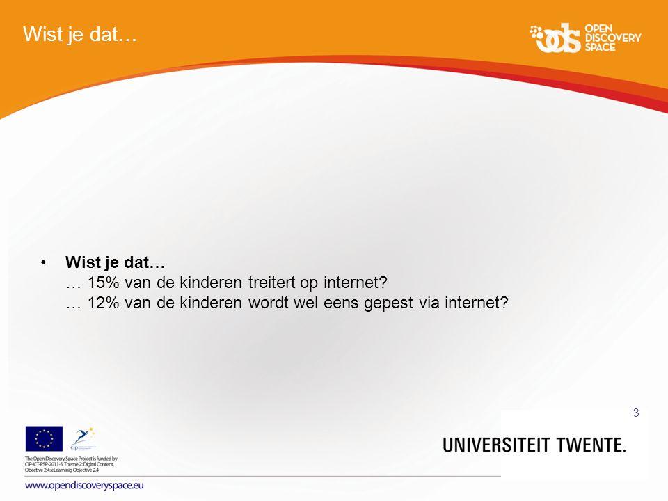 PARTNER LOGO 3 Wist je dat… Wist je dat… … 15% van de kinderen treitert op internet.