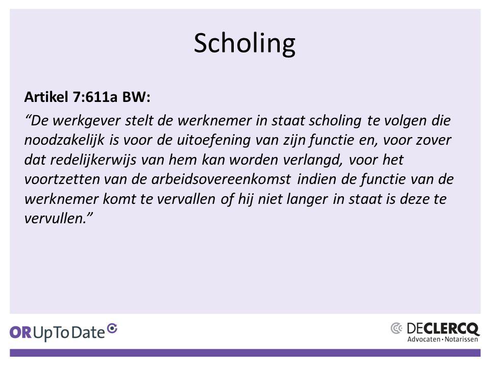 Artikel 7:611a BW: De werkgever stelt de werknemer in staat scholing te volgen die noodzakelijk is voor de uitoefening van zijn functie en, voor zover dat redelijkerwijs van hem kan worden verlangd, voor het voortzetten van de arbeidsovereenkomst indien de functie van de werknemer komt te vervallen of hij niet langer in staat is deze te vervullen.