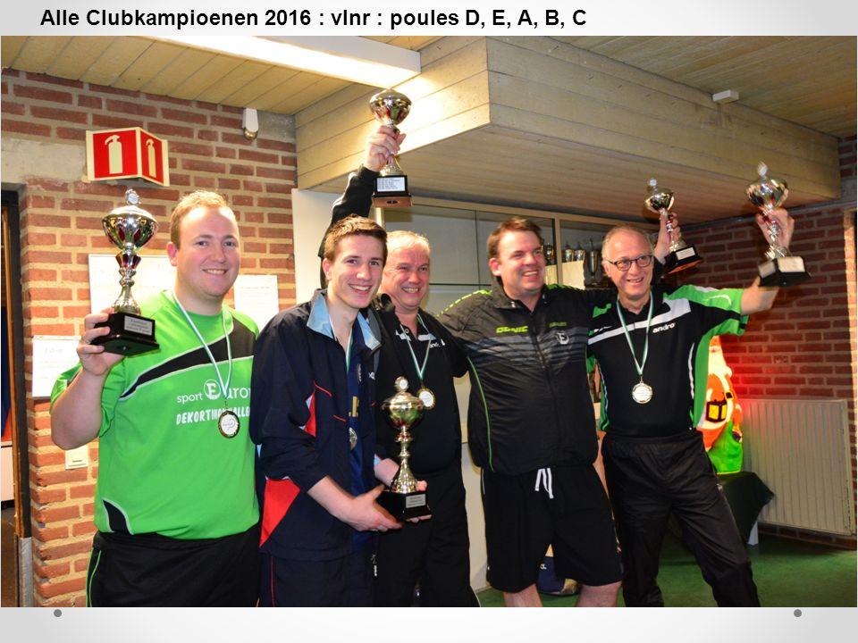 Alle Clubkampioenen 2016 : vlnr : poules D, E, A, B, C