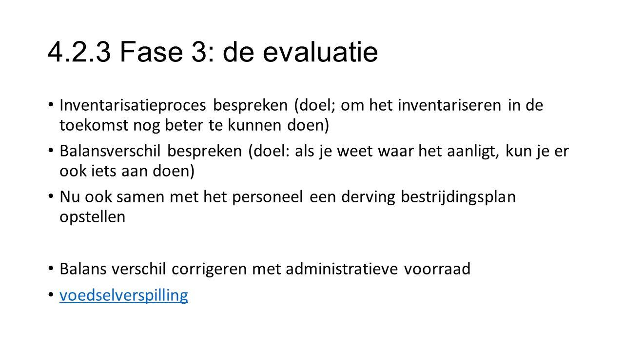 4.2.3 Fase 3: de evaluatie Inventarisatieproces bespreken (doel; om het inventariseren in de toekomst nog beter te kunnen doen) Balansverschil besprek