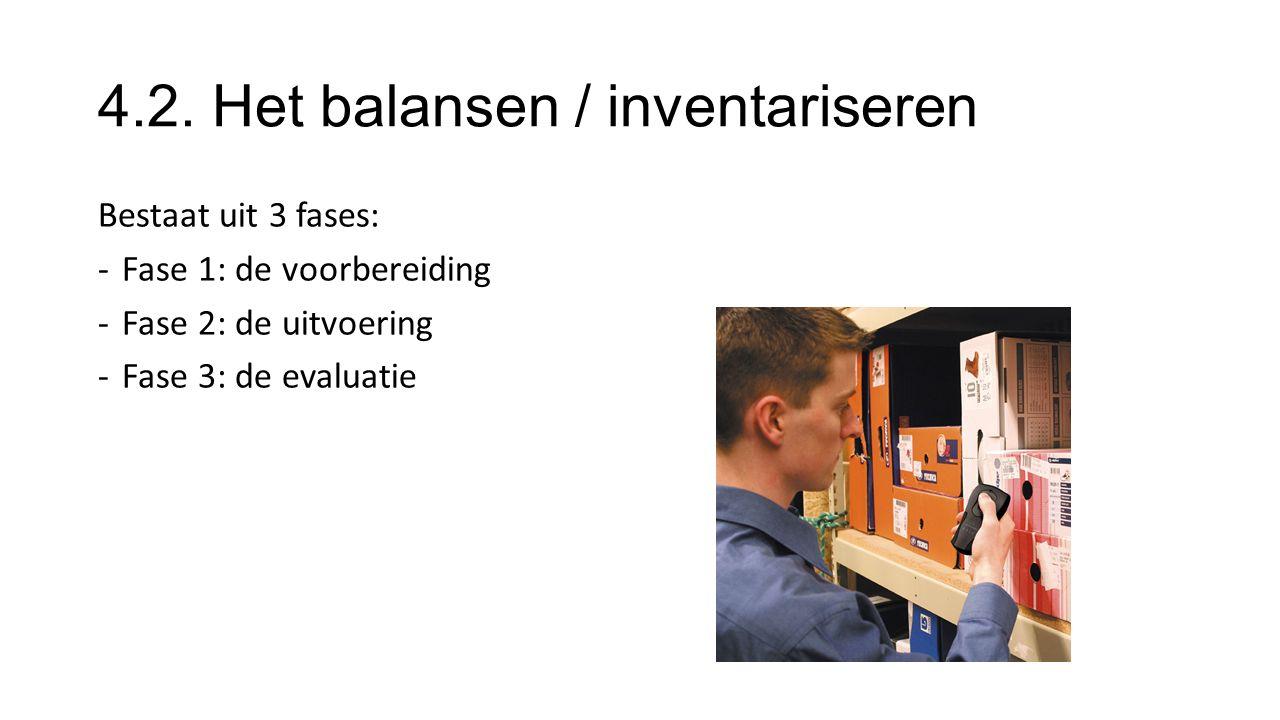4.2. Het balansen / inventariseren Bestaat uit 3 fases: -Fase 1: de voorbereiding -Fase 2: de uitvoering -Fase 3: de evaluatie