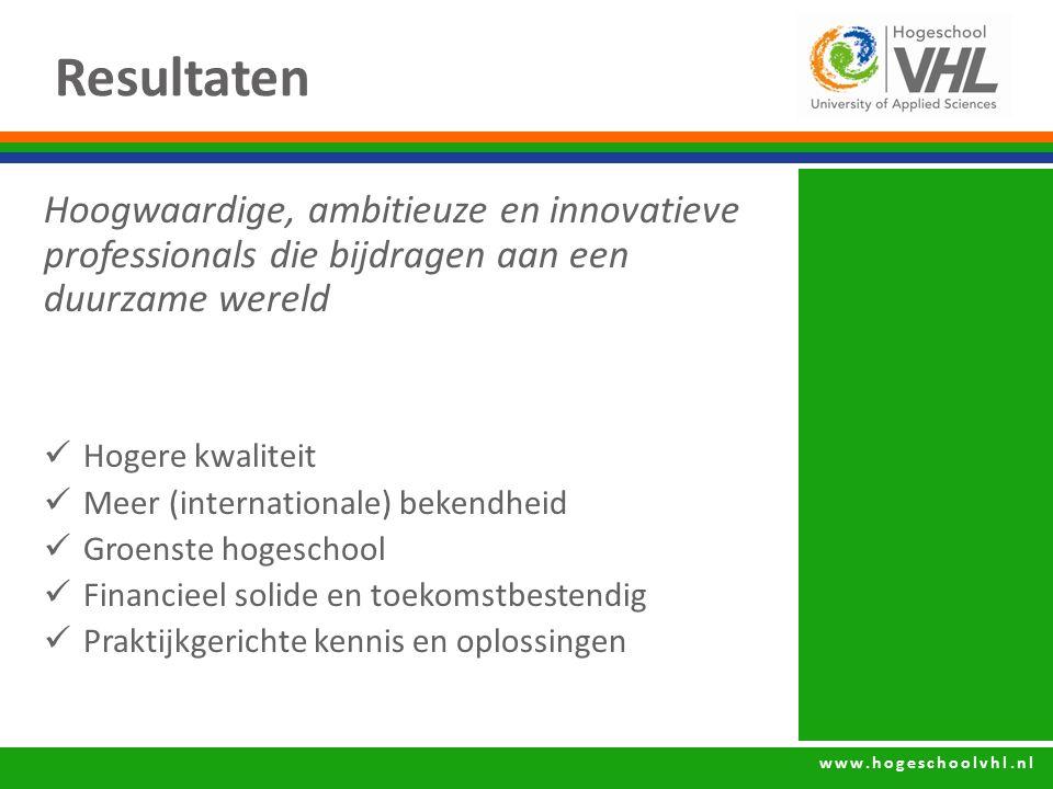 www.hogeschoolvhl.nl Resultaten Hoogwaardige, ambitieuze en innovatieve professionals die bijdragen aan een duurzame wereld Hogere kwaliteit Meer (int
