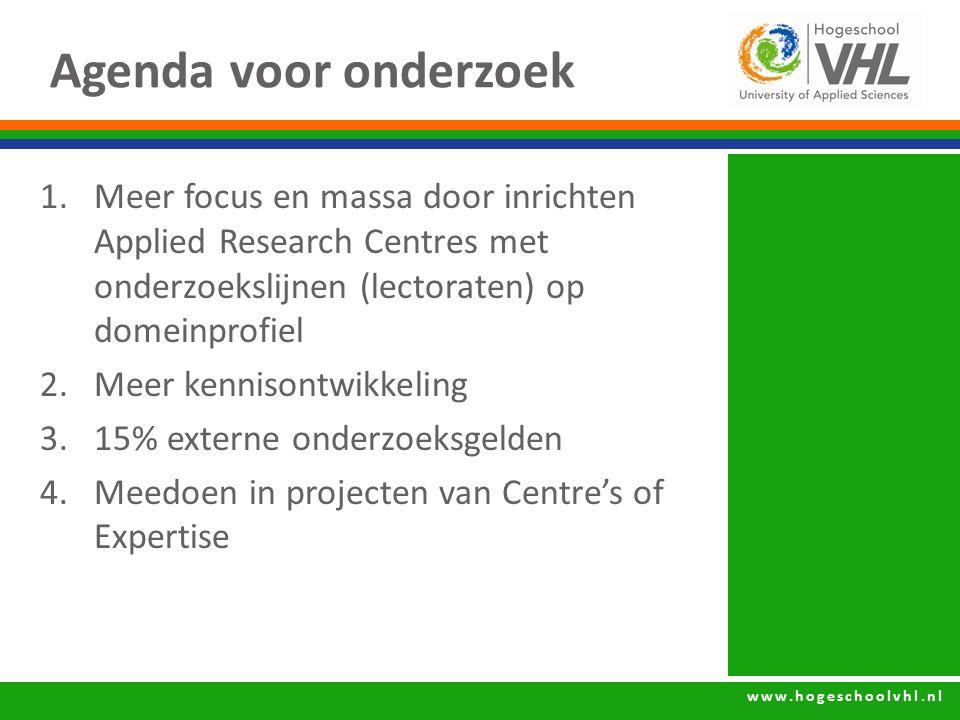 www.hogeschoolvhl.nl Agenda voor onderzoek 1.Meer focus en massa door inrichten Applied Research Centres met onderzoekslijnen (lectoraten) op domeinpr