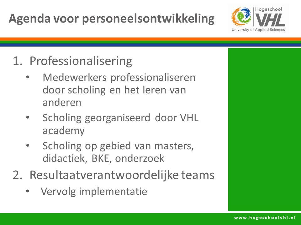 www.hogeschoolvhl.nl Agenda voor personeelsontwikkeling 1.Professionalisering Medewerkers professionaliseren door scholing en het leren van anderen Sc