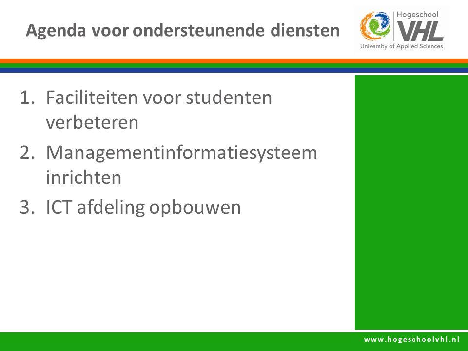 www.hogeschoolvhl.nl Agenda voor ondersteunende diensten 1.Faciliteiten voor studenten verbeteren 2.Managementinformatiesysteem inrichten 3.ICT afdeli