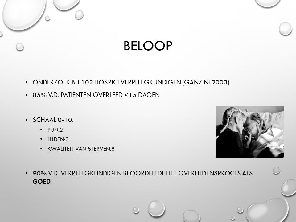 BELOOP ONDERZOEK BIJ 102 HOSPICEVERPLEEGKUNDIGEN (GANZINI 2003) 85% V.D.