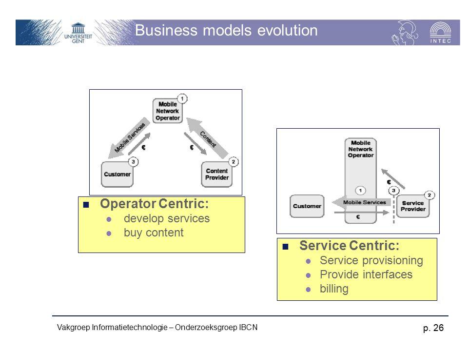 Vakgroep Informatietechnologie – Onderzoeksgroep IBCN p. 26 Business models evolution Operator Centric: develop services buy content Service Centric: