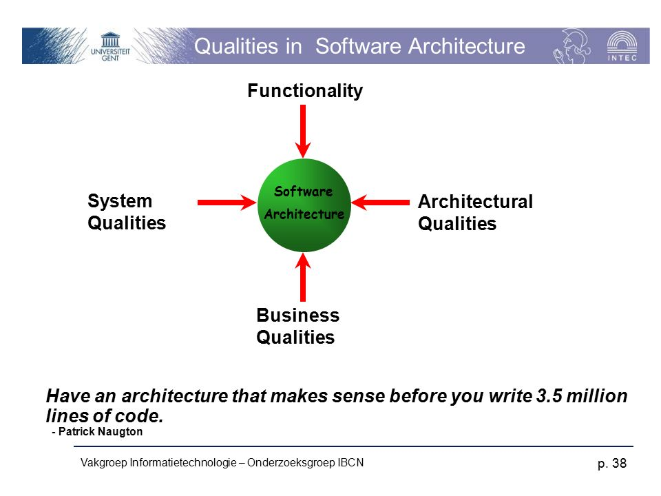 Vakgroep Informatietechnologie – Onderzoeksgroep IBCN p. 38 Qualities in Software Architecture System Qualities Functionality Business Qualities Archi