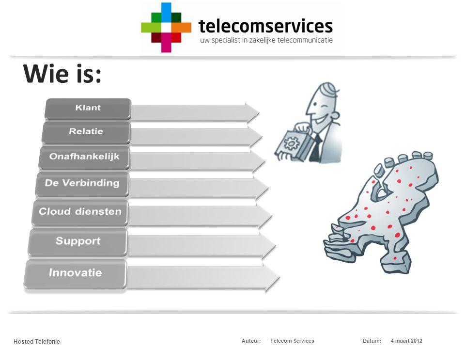 Telecom Services Hosted Telefonie Datum:4 maart 2012Auteur: De Infrastructuur en cloud diensten IP-VPN servers Blades Colocatie SIP/PSTN mPix Webhosting, Email.
