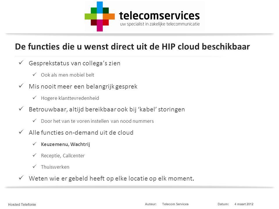 Telecom Services Hosted Telefonie Datum:4 maart 2012Auteur: Bellen over het Internet (IP) met uw enkele vertrouwde nummer vanaf elke locatie en elk device Apple, Android, Windows