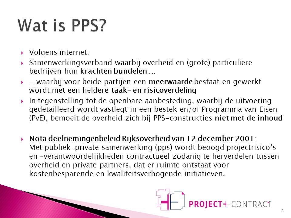  Inleiding  Wat is Publiek Private Samenwerking?  Wat is het verschil met traditioneel aanbesteden?  Wat betekent dat voor het project en het proc