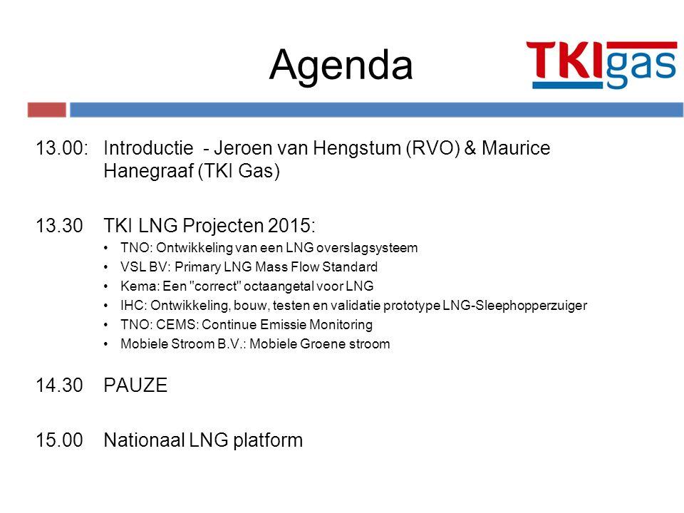 Agenda 13.00:Introductie - Jeroen van Hengstum (RVO) & Maurice Hanegraaf (TKI Gas) 13.30TKI LNG Projecten 2015: TNO: Ontwikkeling van een LNG overslag