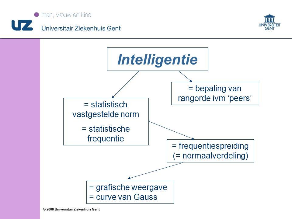 11 © 2008 Universitair Ziekenhuis Gent Intelligentie = bepaling van rangorde ivm 'peers' = statistisch vastgestelde norm = statistische frequentie = frequentiespreiding (= normaalverdeling) = grafische weergave = curve van Gauss