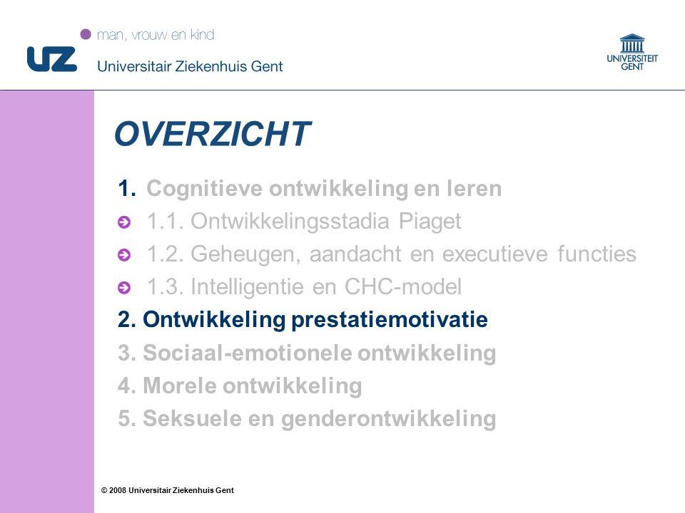 20 © 2008 Universitair Ziekenhuis Gent OVERZICHT 1.Cognitieve ontwikkeling en leren 1.1. Ontwikkelingsstadia Piaget 1.2. Geheugen, aandacht en executi