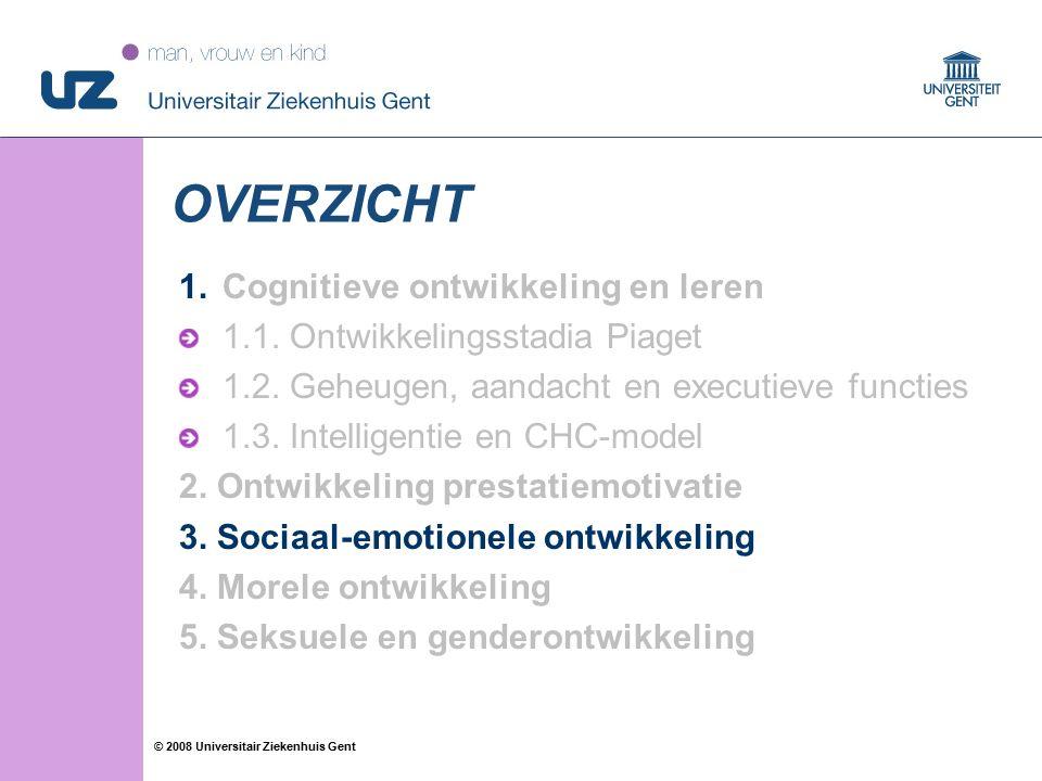 29 © 2008 Universitair Ziekenhuis Gent OVERZICHT 1.Cognitieve ontwikkeling en leren 1.1. Ontwikkelingsstadia Piaget 1.2. Geheugen, aandacht en executi