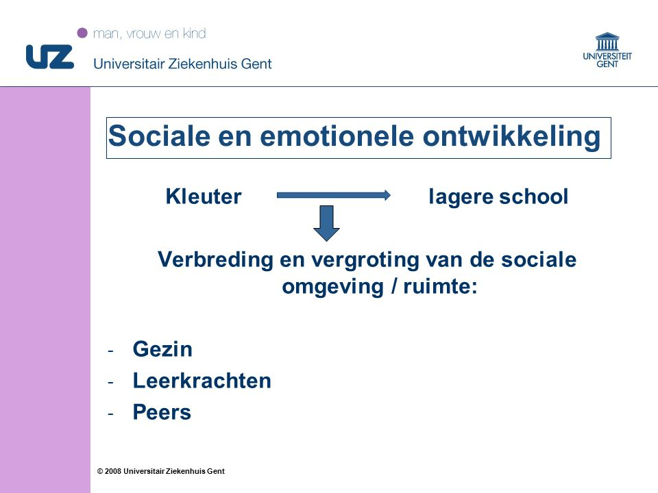 30 © 2008 Universitair Ziekenhuis Gent Sociale en emotionele ontwikkeling Kleuter lagere school Verbreding en vergroting van de sociale omgeving / rui