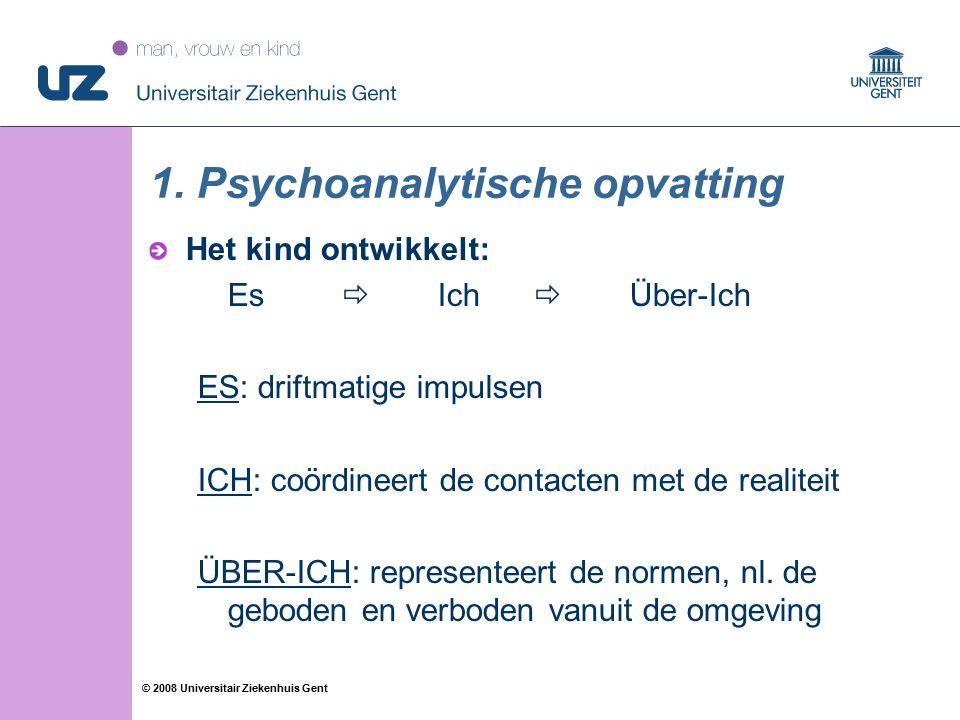 46 © 2008 Universitair Ziekenhuis Gent 1. Psychoanalytische opvatting Het kind ontwikkelt: Es  Ich  Über-Ich ES: driftmatige impulsen ICH: coördinee