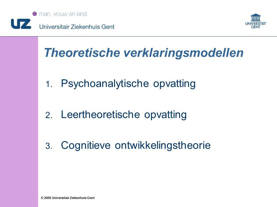 55 © 2008 Universitair Ziekenhuis Gent Theoretische verklaringsmodellen 1. Psychoanalytische opvatting 2. Leertheoretische opvatting 3. Cognitieve ont