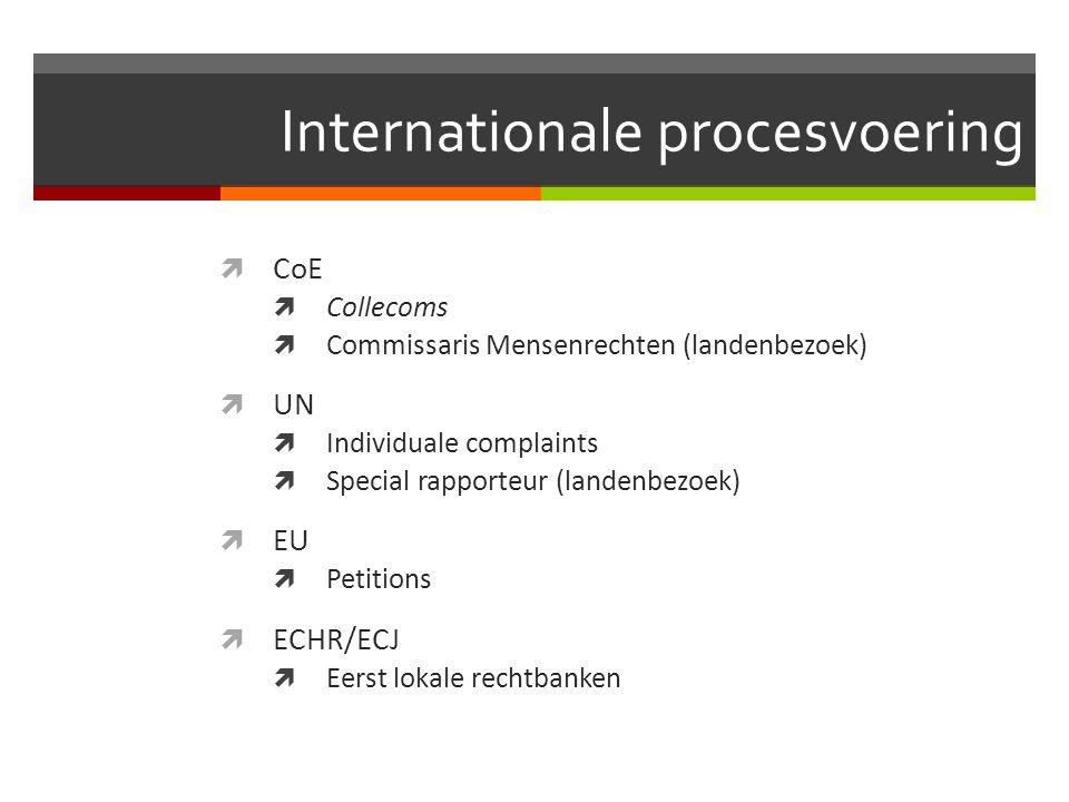 Internationale procesvoering  CoE  Collecoms  Commissaris Mensenrechten (landenbezoek)  UN  Individuale complaints  Special rapporteur (landenbezoek)  EU  Petitions  ECHR/ECJ  Eerst lokale rechtbanken