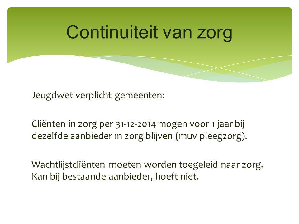 Jeugdwet verplicht gemeenten: Cliënten in zorg per 31-12-2014 mogen voor 1 jaar bij dezelfde aanbieder in zorg blijven (muv pleegzorg).