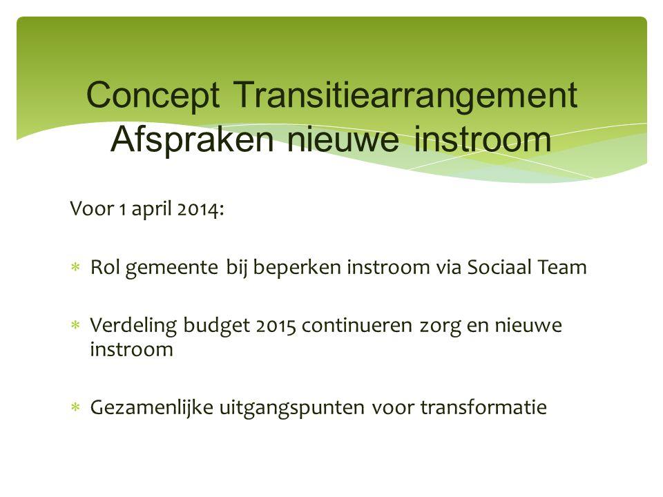 Voor 1 april 2014:  Rol gemeente bij beperken instroom via Sociaal Team  Verdeling budget 2015 continueren zorg en nieuwe instroom  Gezamenlijke ui