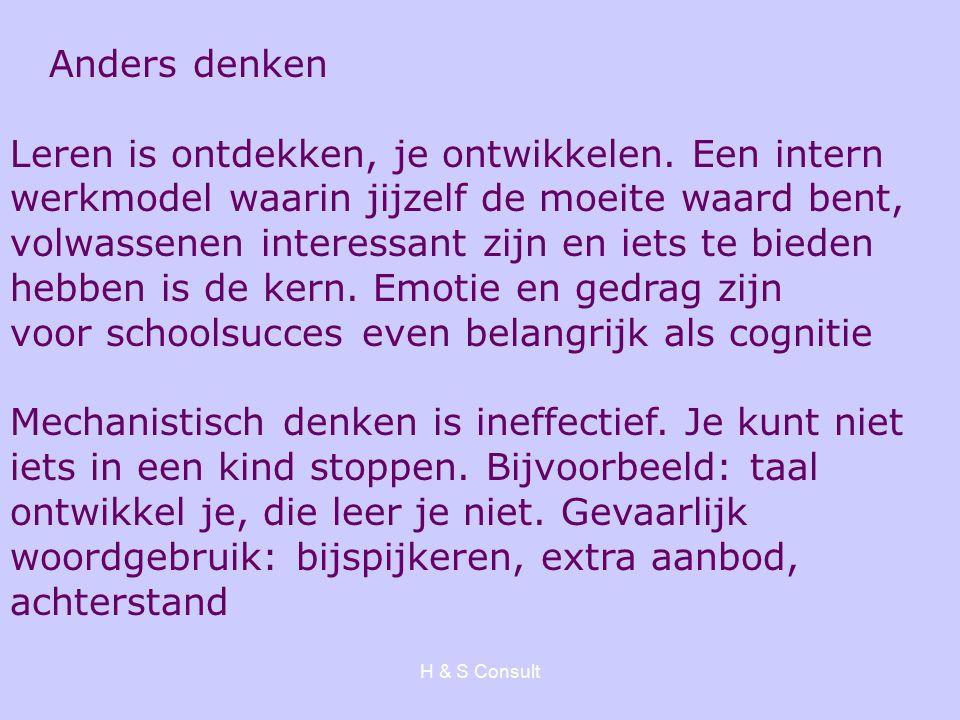 H & S Consult Anders denken Leren is ontdekken, je ontwikkelen.