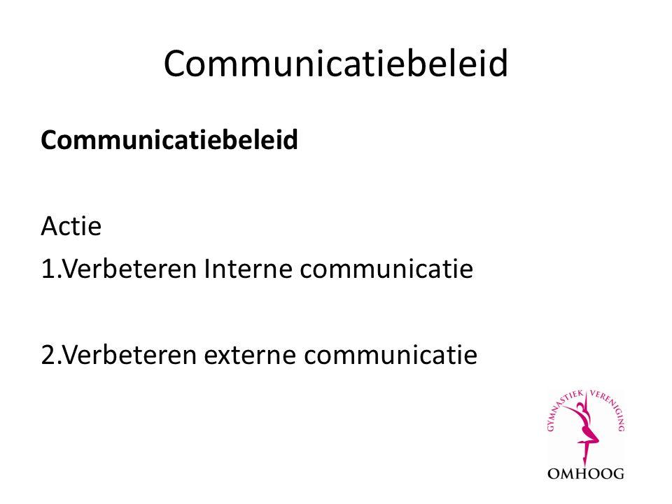 Communicatiebeleid Actie 1.Verbeteren Interne communicatie 2.Verbeteren externe communicatie