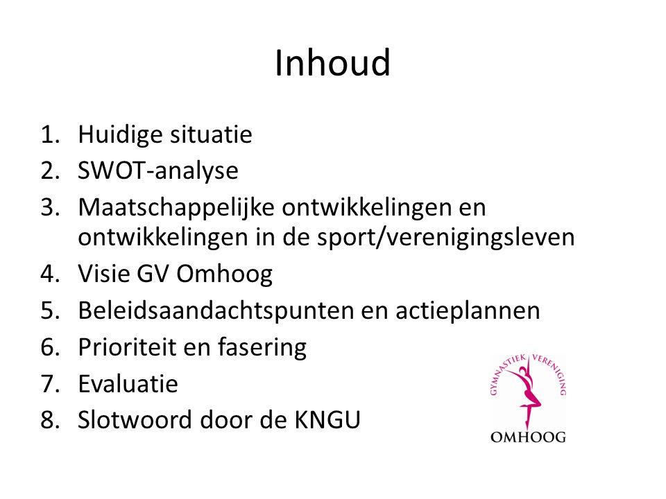 Inhoud 1.Huidige situatie 2.SWOT-analyse 3.Maatschappelijke ontwikkelingen en ontwikkelingen in de sport/verenigingsleven 4.Visie GV Omhoog 5.Beleidsaandachtspunten en actieplannen 6.Prioriteit en fasering 7.Evaluatie 8.Slotwoord door de KNGU